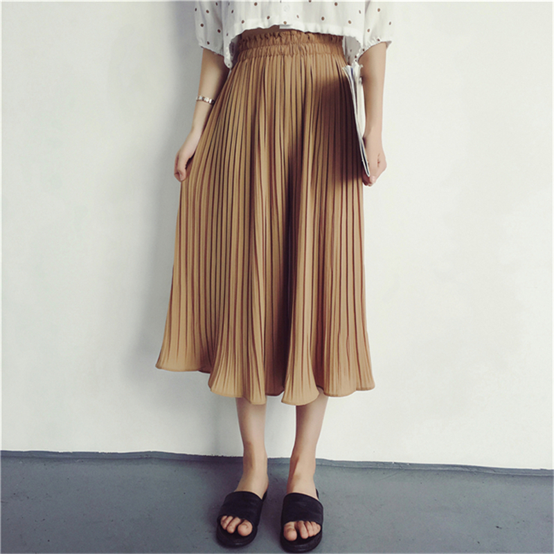 Spring Summer Elastic Waist Women   Wide     Leg     Pants   Casual Loose Female Pleated Trousers Soft Chiffon Calf-length   Pants   pantalones