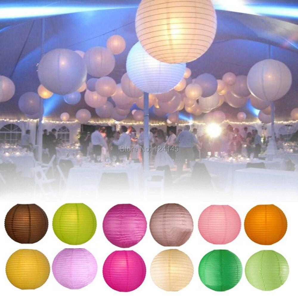 10 pcs/lot 16 inch(40cm) Chinese/Japanese Paper Lantern Lamp Lanterns Random Color + Led Keyring Bulbs Wedding Party Decoration - Favor gifts store