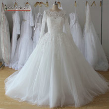 Amanda Chen Puffy Skirt Long Sleeve Wedding Dress