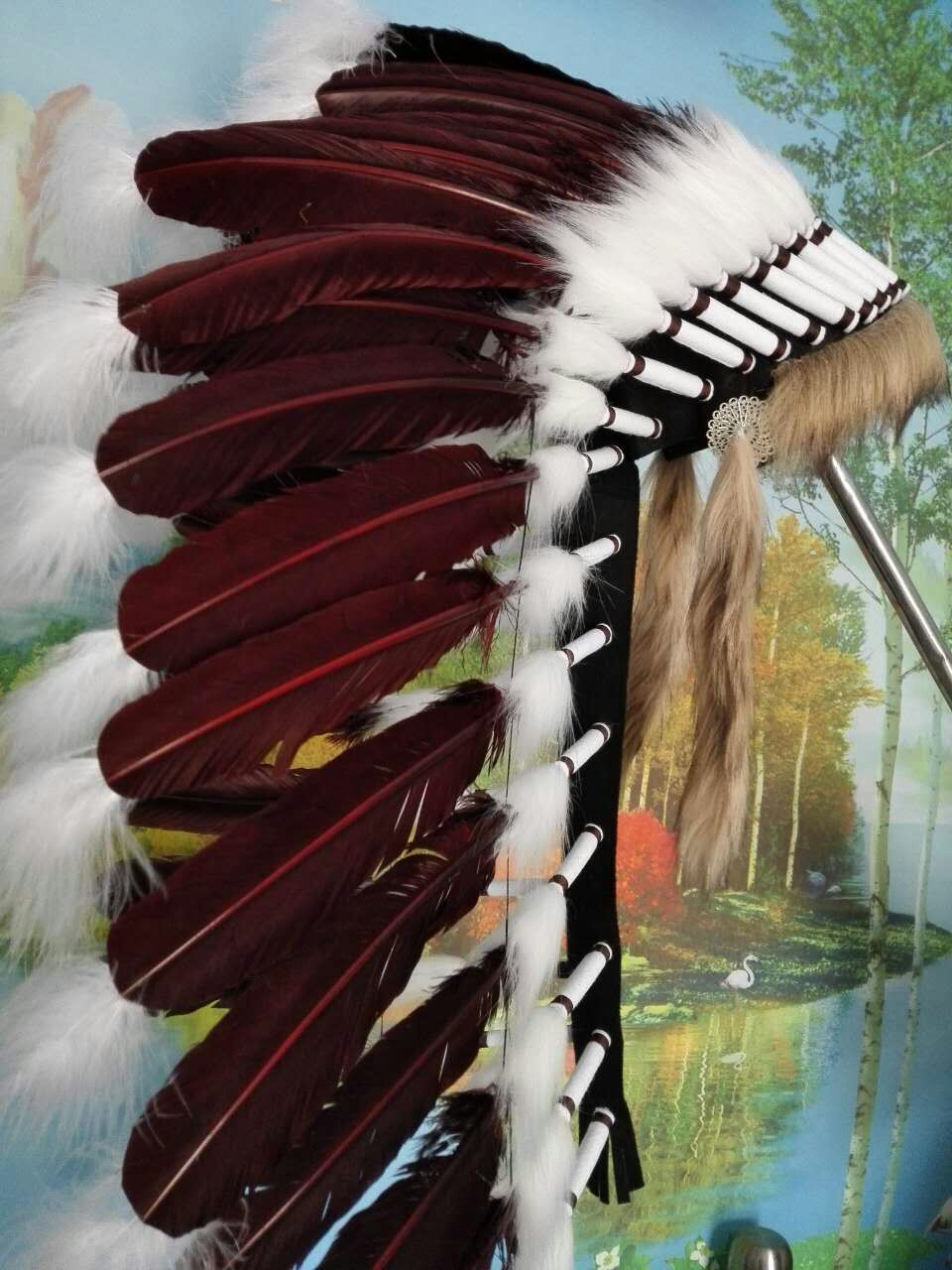 28inches Dark Brown feather headdress headpiece costume halloween party costume party supply