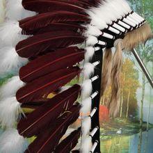 28 дюймов темно-коричневые перья головной убор костюм Хэллоуин вечерние костюмы