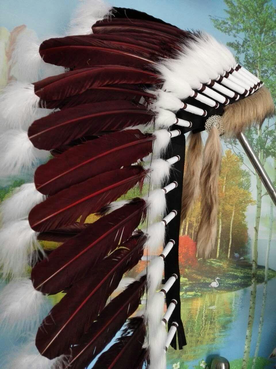 28 인치 다크 브라운 깃털 머리 장식 헤드 피스 의상 할로윈 파티 의상 파티 공급-에서깃털부터 홈 & 가든 의  그룹 1