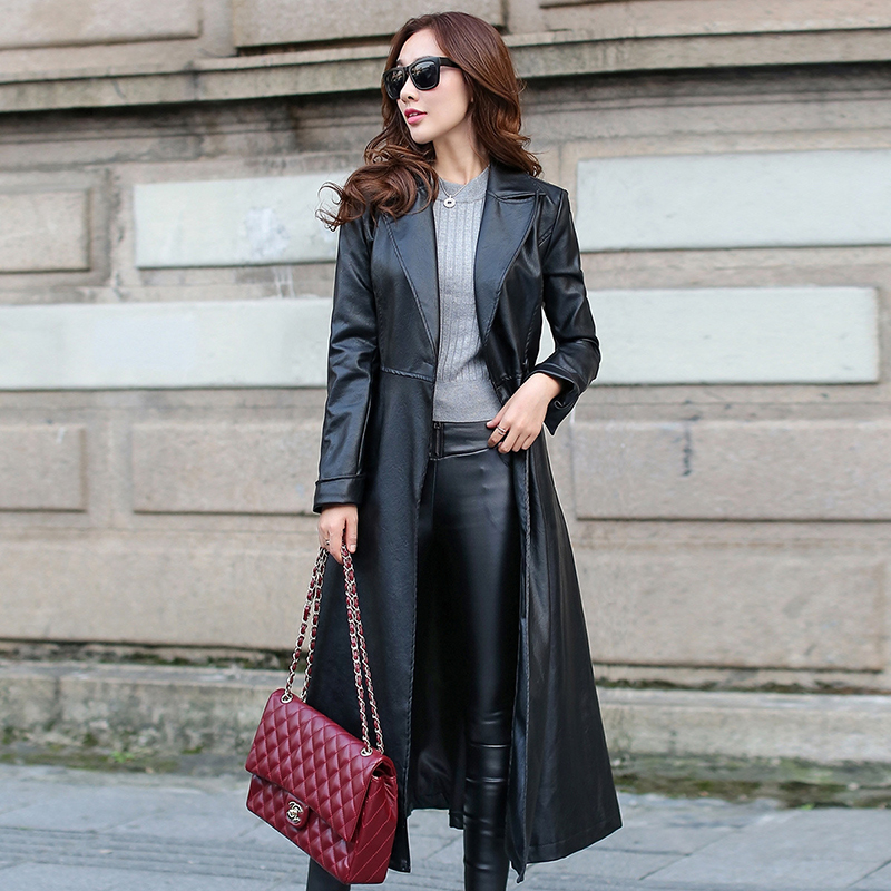 Aliexpress.com : Buy 2017 Spring Autumn Long Leather Coat Female ...