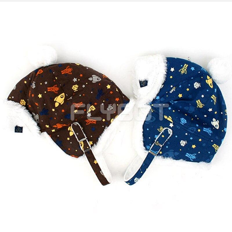 Korean Winghouse Children Cap Flybot Moonlight Hat Baby Boy Plus Velvet Thicken Soft Cap Warm(China)
