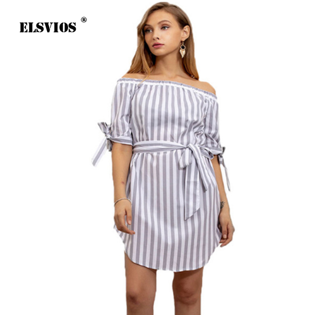 eff491b4cc1ca ELSVIOS Summer Striped Print Bandage mini dress Sexy Off shoulder half  sleeve beach dress Boho slash neck Party Clubwear dresses