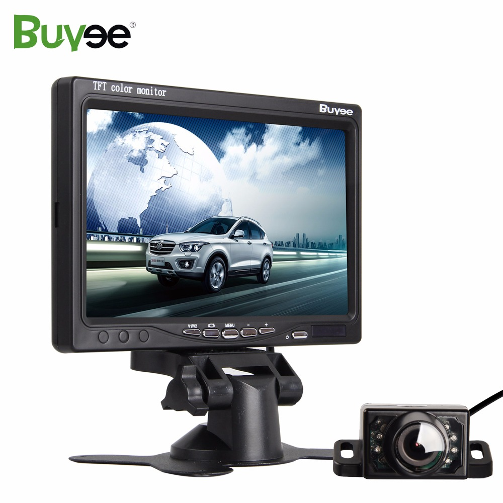Buyee 7 inch Auto Color TFT LCD Car Rear view Mirror Monitor Rear camera monitor with LED IR Rear View Camera reversing parking
