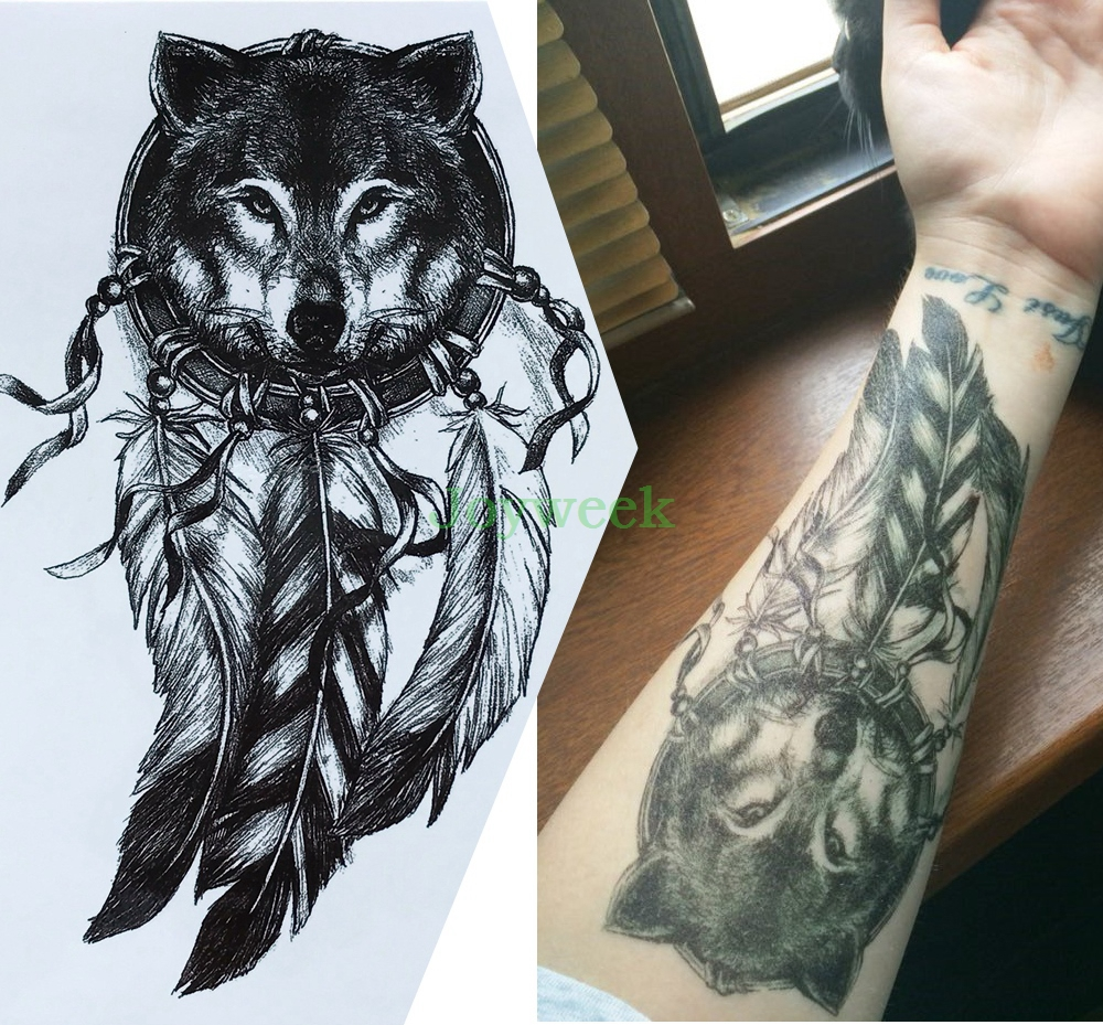 Waterproof Temporary Tattoo Sticker Large Size Dreamcatcher Wolves Wolf Tatto Stickers Flash Tatoo Fake Tattoos For Men Women 7
