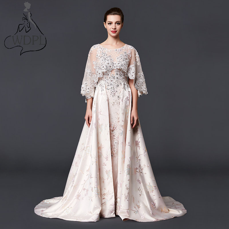 2017 muslim long evening dress with cape haute couture for Wedding dresses in dubai prices