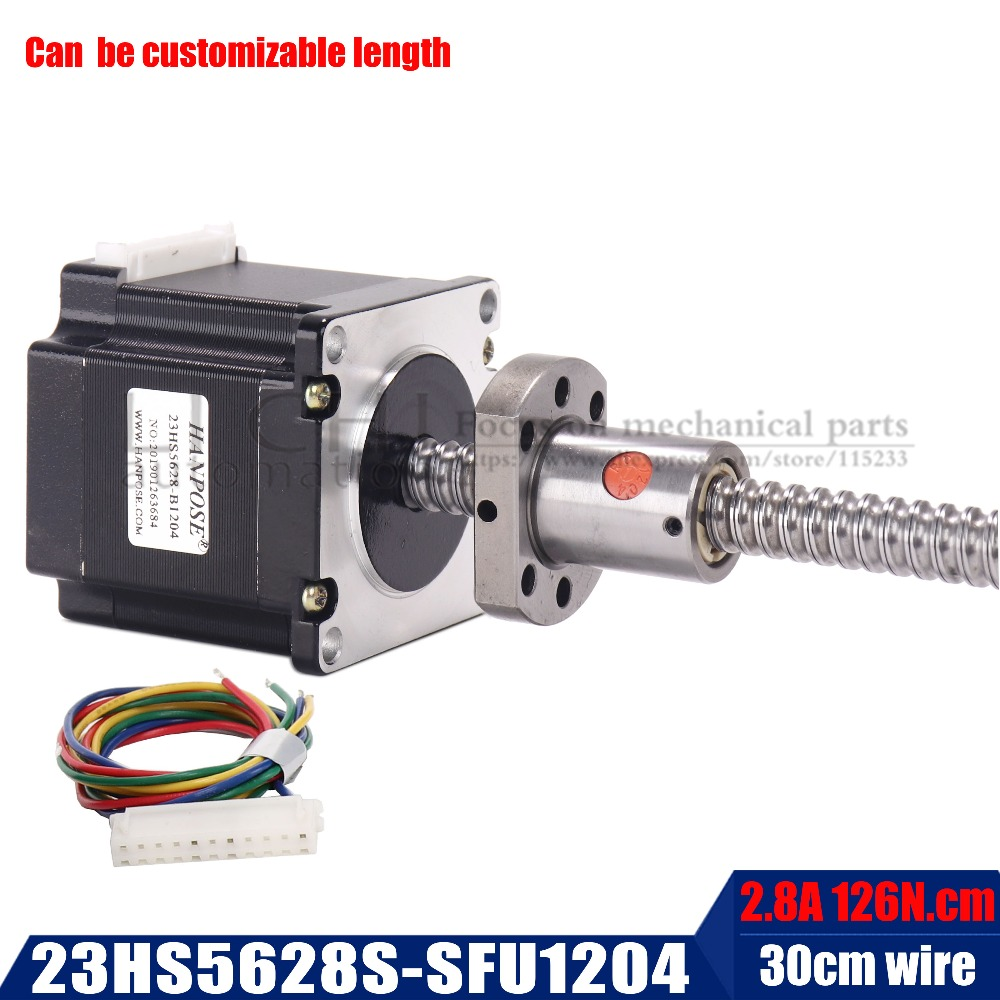Free shipping Nema 23 Stepper Motor 2 phase, 4-Leads 56mm 23hs5628S with RM1204 sfu1605 sfu1610 ball screw for CNC 3D PrinterFree shipping Nema 23 Stepper Motor 2 phase, 4-Leads 56mm 23hs5628S with RM1204 sfu1605 sfu1610 ball screw for CNC 3D Printer