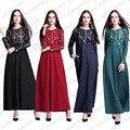 Новая Мода исламская кружева V шеи платье абая кафтан для Малайзии женщин турецкая абая мусульманское платье с длинным рукавом