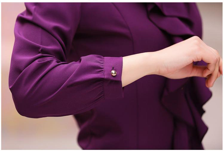 New Sale Womens Clothing Femme Long Sleeve Frill Ruffle Blouse Enegant Chiffon Blouses Magliette Donna Camisa Social Feminina