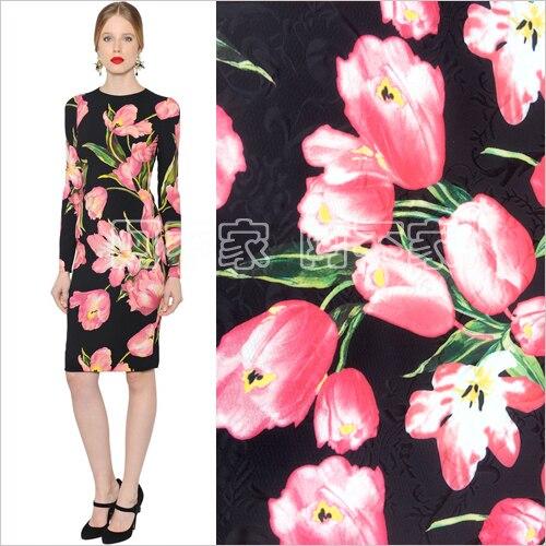 100cm * 145cm rose tulipe robe vêtements tissu jacquard automne et hiver haut de gamme enfants jupe tissu