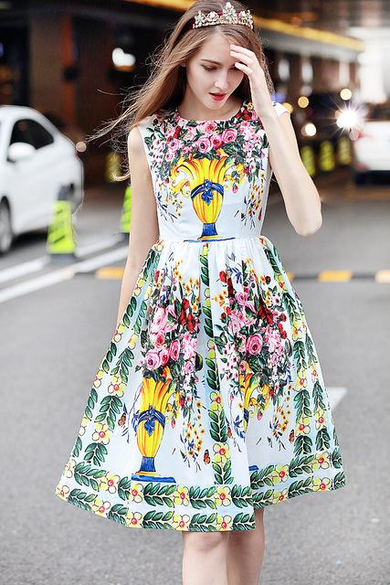 Women'S Sleeveless Elegant Floral Print Dress