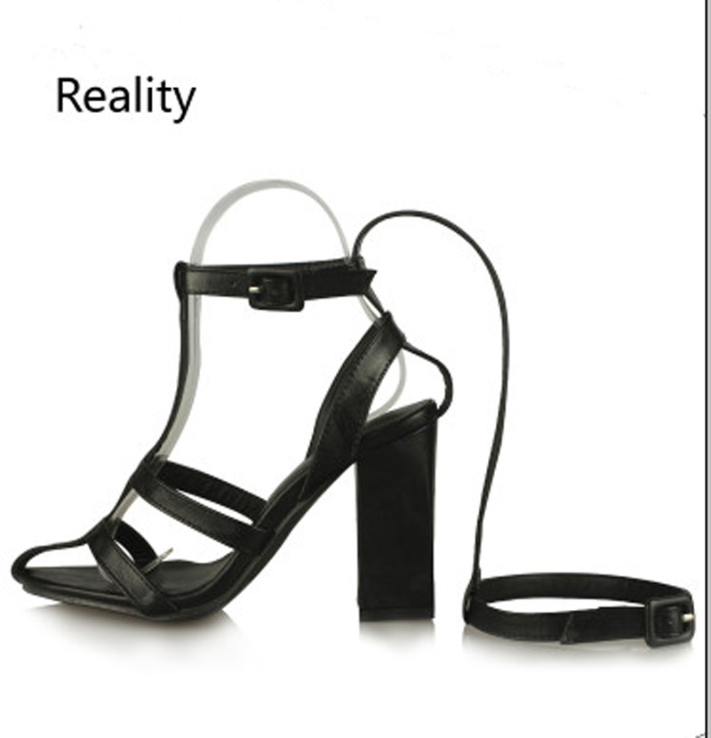 New summer genuine leather women sandals roman style thick high heel sandals T station catwalk the same model women stage shoes the bride single shoes catwalk shows the performance of 15 cm high with roman style thick bottom appeal show shoes
