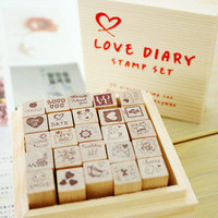 Free Shipping HAPPY LIFE DIARY STAMP SET Lovely Diary Decorative Wood Stamp 25 Pcs Set Red