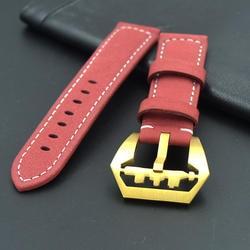 20 мм 22 мм 24 мм 26 мм Высокое качество мягкий красный кожаный ремешок Винтаж кожа Ремешки для наручных часов, для PAM и Big Pilot's Watch золотой пряжкой