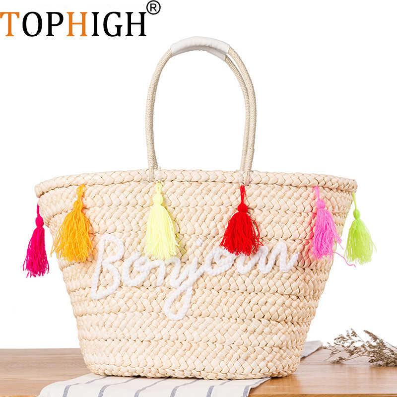 Tophigh путешествия большие пляжные вместительная сумка для женщин с кисточками дизайнерская летняя соломенная сумка качество пляжная сумка, большая сумка через плечо сумка-шоппер C31