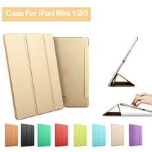 100% Prima de Cuero Smart Cover para iPad Mini 1 2 3 Con Auto de la estela/Sueño de Oro