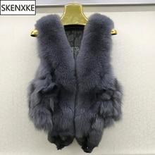 Женская мода натуральный Лисий мех жилет зимний толстый женский натуральный Лисий мех жилет куртка с карманами натуральный мех жилет пальто