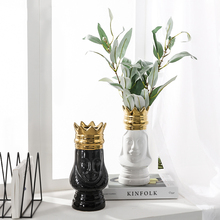 Europe Ceramic King and Queen Vase Gold Golden Crown Tabletop Flower Pot Arrangement Bottle Art Craft Decora