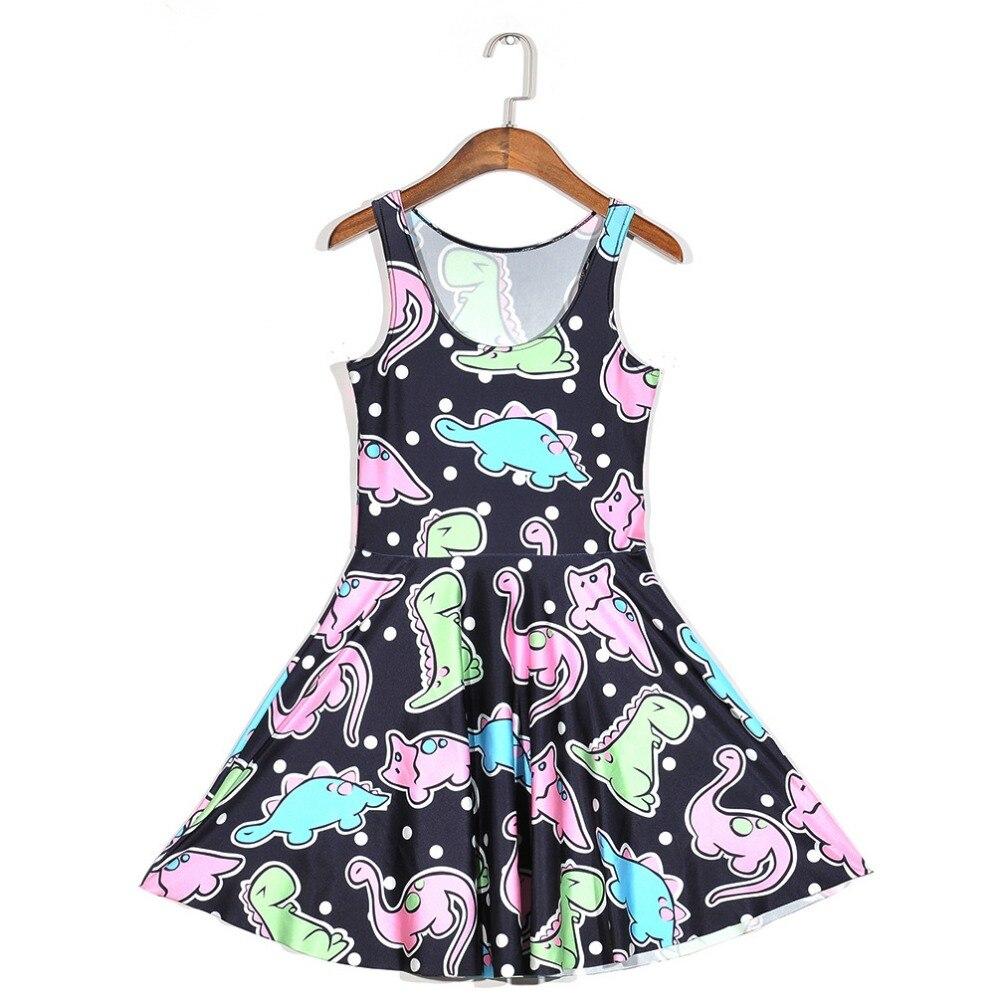 NEW Black Milk 1139 Sexy Girl Women Summer cartoon cute dinosaur dot 3D Prints Vest Reversible Sleeveless Skater Pleated Dress