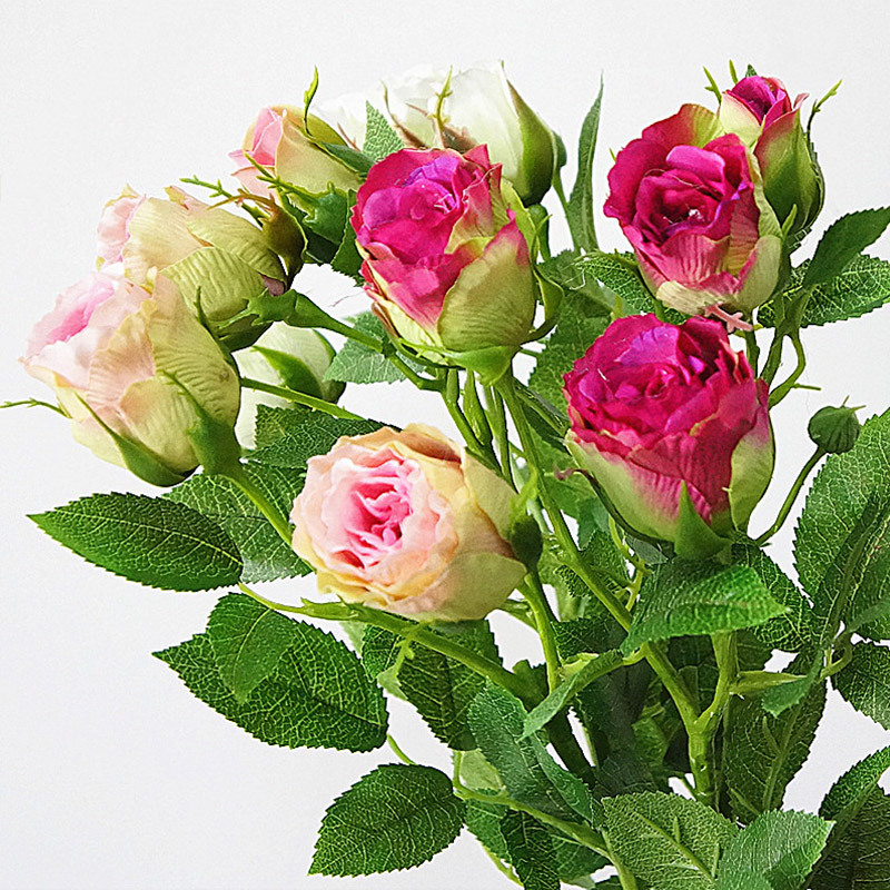 Silk Rose Artificial Flowers With 4 Heads Long Stem Plastic Branches For Wedding Hotel Decor 5
