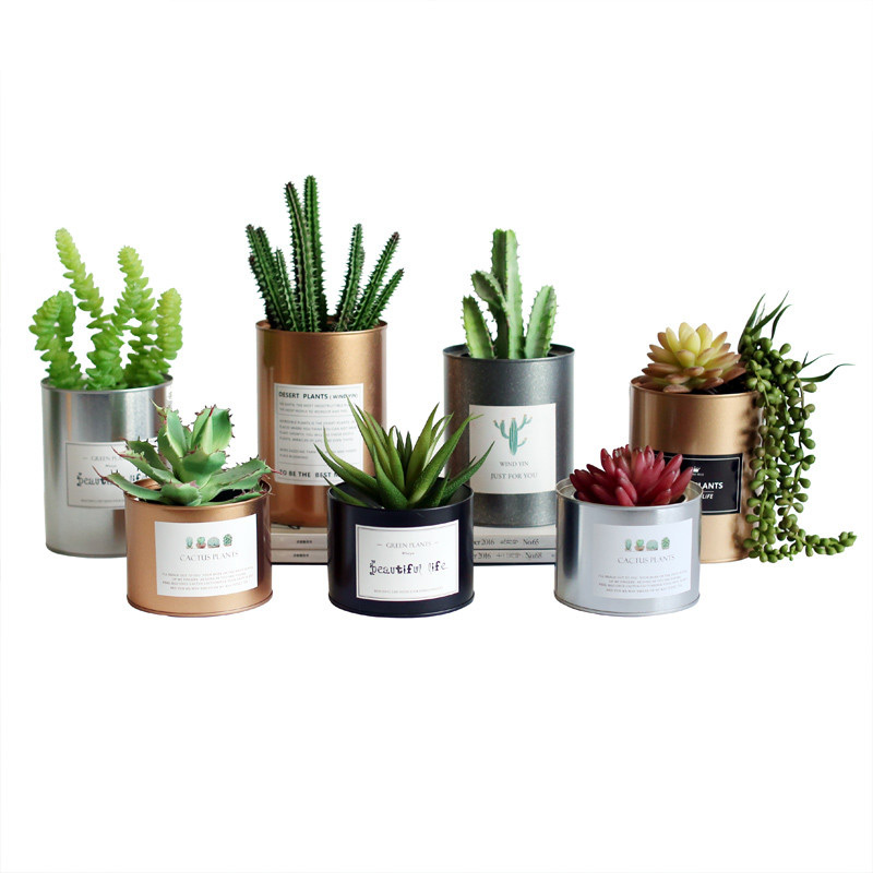Tinplate Metal Flower Pot Succulent Creative Painting Iron Storage Container Metal Crafts Home Tabletop Decoration without cover squared countryside iron art storage barrel flower implement brown green