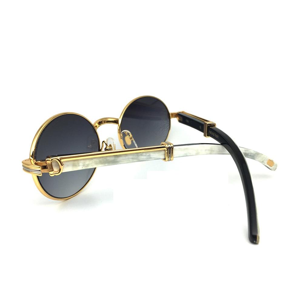 Bianco Nero Corno di Bufalo Carter Occhiali Da Cornice Ovale Occhiali Da Sole Degli Uomini Del Progettista di Marca di Occhiali Da Sole per Gli Uomini Occhiali Occhiali Da Vista
