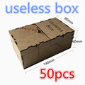 wholesale 50pcs Transparent Useless Box Kit Leave Me Alone Box Great Geek Gift(Fully Assembled,DIY Version) freeshipping