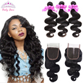 Malaysian Virgin Hair With Closure 3PCS Malaysian Body Wave Hair Bundles With Lace Closure free part 100% Human Hair Weave