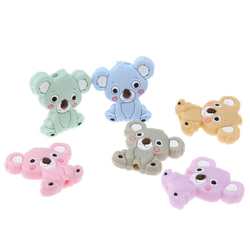 Fkisbox 15pcs Cute Koala Beads Mini Silicone Animal Teether Bead Bpa Free Babies Teething Jewelry Making Soother Newborn Gifts