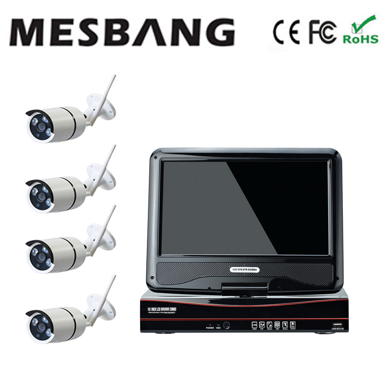 Mesbang 960P P2P 4ch shop office shop IP cctv camera system wireless  10 inch monitor  delivery by DHL Fedex free shipping 2017 mesbang 960p 4ch camera security wireless set wifi nvr kits good for small shop and office using delivery by dhl fedex