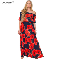 2017 Women Beach Print 5XL 6XL Plus Size Long Dress 4XL Big Large Size Slash Neck