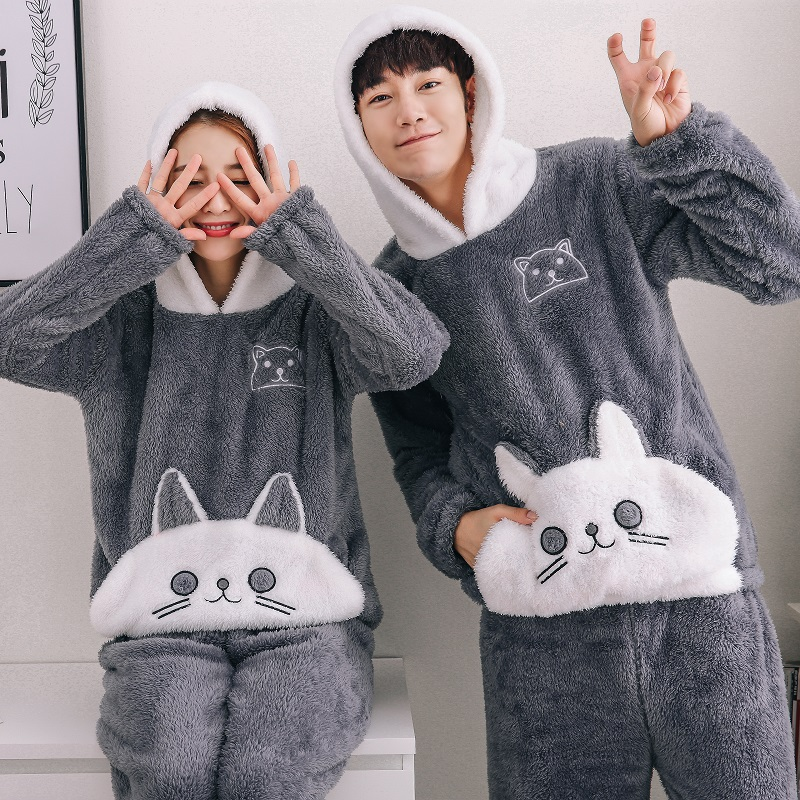 2018 Flannel Couples Plush Pajamas Set Winter Thicker Hooded Men Pyjama Set Long Pants Cat Animal Cartoon Printed Pijamas Hombre