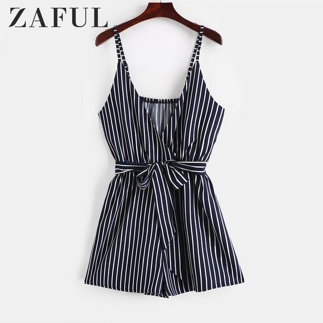 ZAFUL Striped Surplice Cami Romper Casual Brief Regular Striped Female Backless Playsuits Urban Shorts Summer Women Jumpsuits 2
