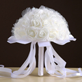 Wedding Bouquet Handmade Flowers Decorative Artificial Rose Flowers Pearls Lace Accents with Ribbon Bridal