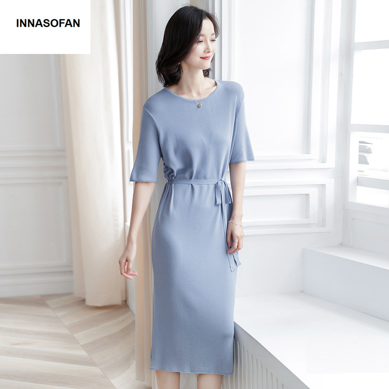 INNASOFAN Spring summer dress knitted dress in solid color Euro American fashion elegant dress with short