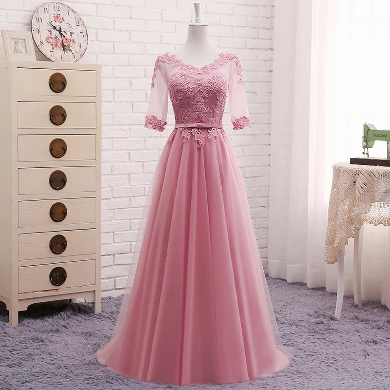 A-line Half Sleeves Lace Elegant   Evening     Dresses   Prom Party   Dress   Blue Pink Grey White Red   Evening   Gown Long Formal   Dress   DR05