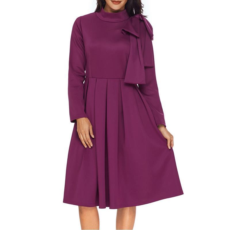 ADEWEL Autumn Long Sleeve A line Women Elegant Dress Vintage High Neck Bowknot Short Flare Party Dress Vestidos De Renda (3)