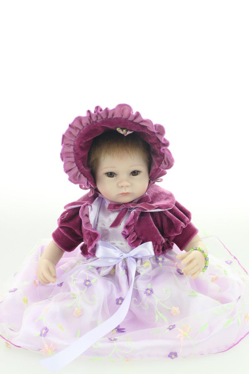 ФОТО 16 Inch Silicone Lifelike Toy Gift for Children Birthday Present,Soft  Silicone Reborn Baby Dolls with Dress Free Shipping