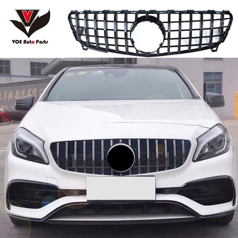 W176 GTR Style ABS Front Racing Grill Grille For Mercedes
