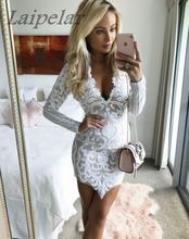 New Long Sleeve Lace Dress Sexy Women Mini Party Dresses Robe 2018 Hot Sale A190501 Laipelar
