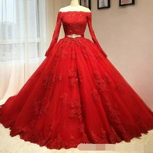 vestido debutante Delicate Red Ball Gown Quinceanera Dresses Off the Shoulder Long Sleeves Lace Appliqued Sweet 16 prom dress
