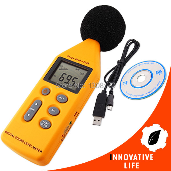 40~130 dB Decibel Digital 5-Range Sound/Noise Level Meter with Analog Signal Output & USB Port Noise Data Logger uyigao ua824 digital decibel sound level meter noise meter tester with max min hold 30dba 130dba range 9v battery included
