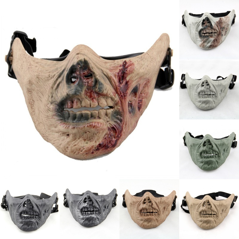M05 Zombie Army Skull Military Airsoft Tactical Half Face Mask Paintball CS Wargame Hunting Halloween