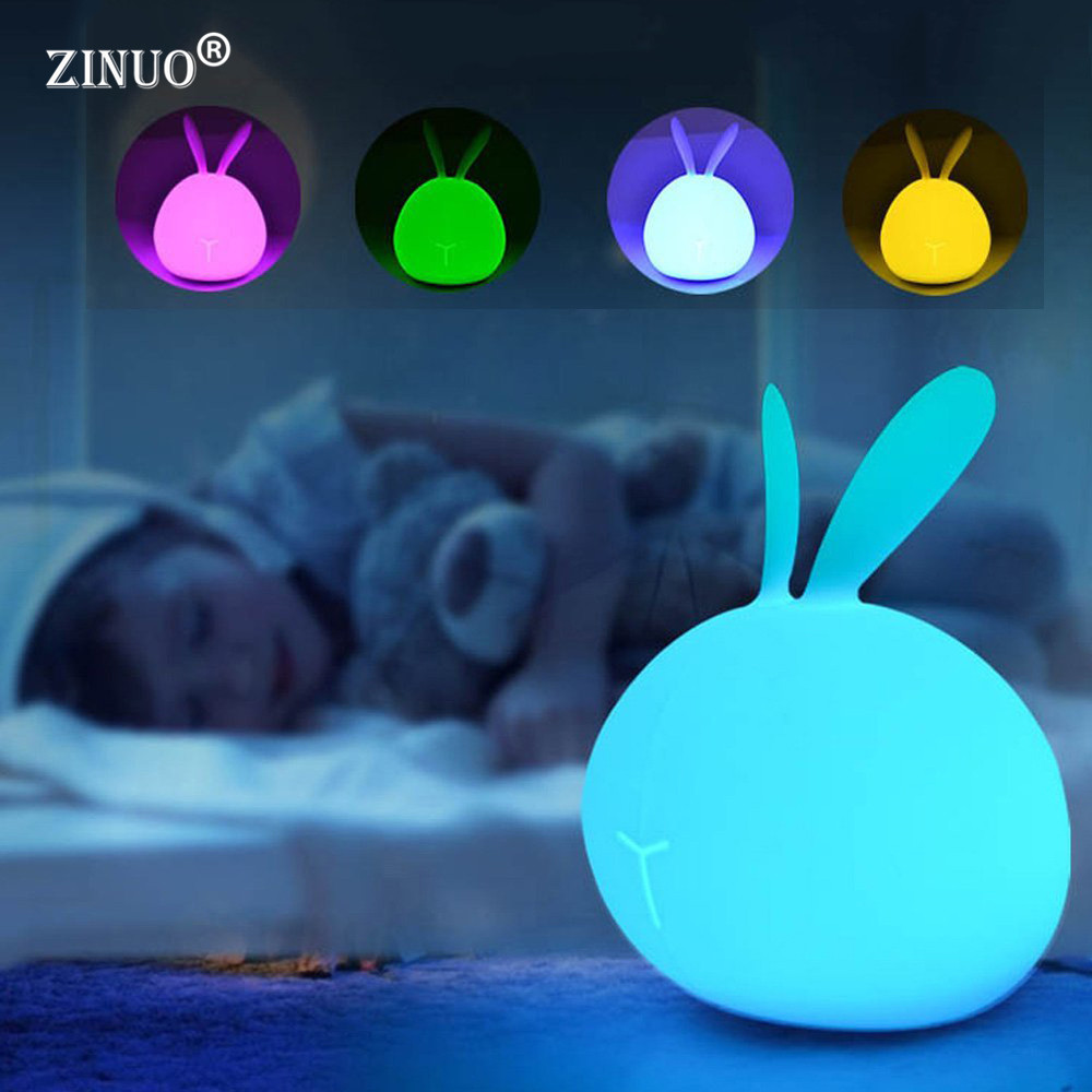 ZINUO Cute Rabbit Lamp Colorful Light Silicone Pat Night Lights Children 7 Color Cute Night Lamp Bedroom Rechargeable Kids Light alilo g6 cute rabbit style children s english song