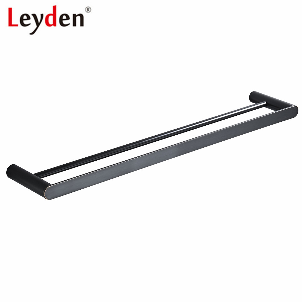 Leyden Blackened Chrome Brushed 304 Stainless Steel Wall Mounted Double 60cm Towel Bars Towel Racks Towel Holder For Bathroom free shipping bathroom accessories products solid 304 stainless steel nickel brushed double towel bars towel holder sus003
