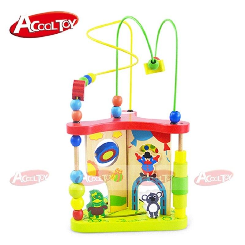 Enfants jouets bois Puzzles pour enfants multi-fonction en bois autour de perle labyrinthe forme Top qualité 3d Puzzle Juguete Madera pour bébé - 3