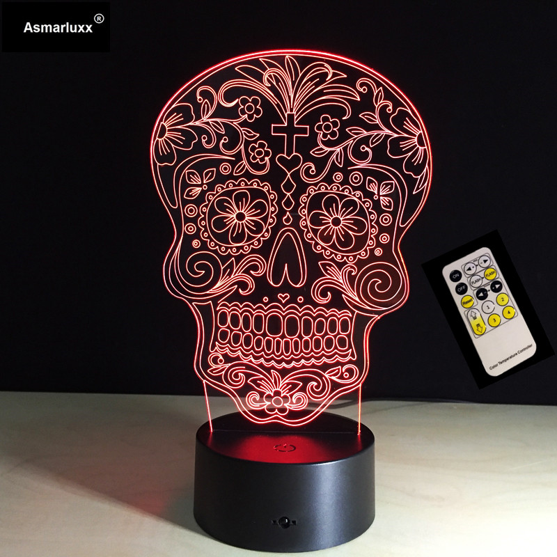 Novelty Light Skull Series Night Light Remote/Touch 3D Night Lamp USB Acrylic Colorful Desk Light Home Decoration Holiday Gift