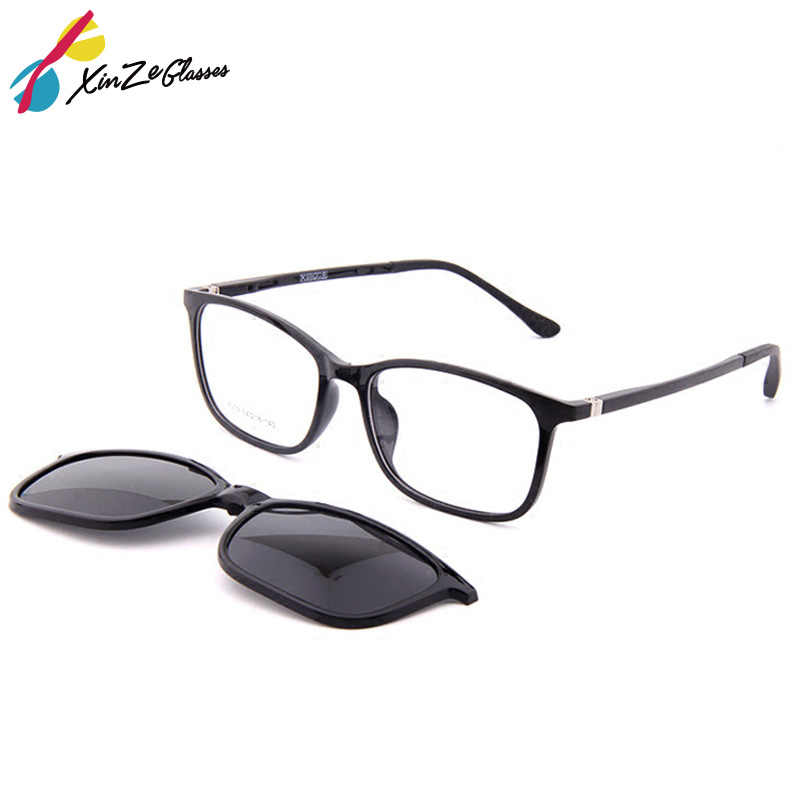 abf120e032 XINZE New Sunglasses with Magnetic Clip on Glasses for men and women magnet  set mirror Optical